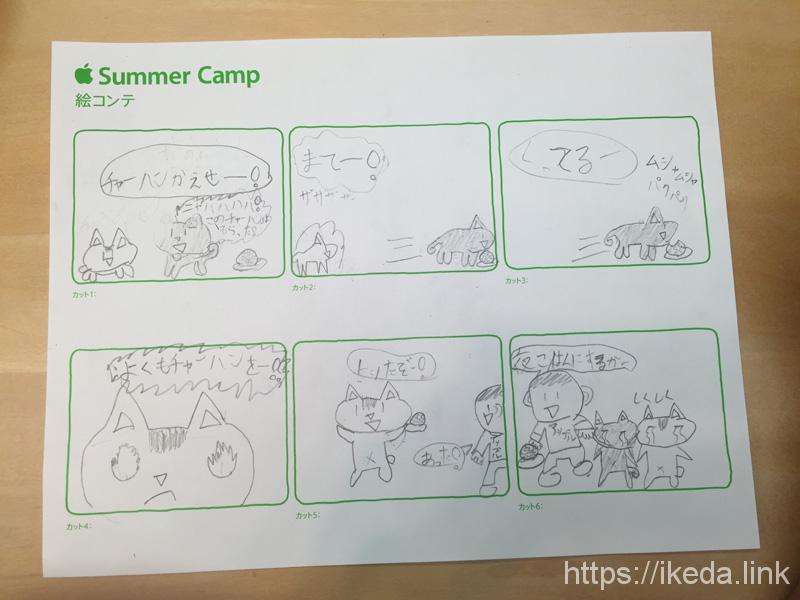 アップルサマーキャンプ1日目。絵コンテ作り